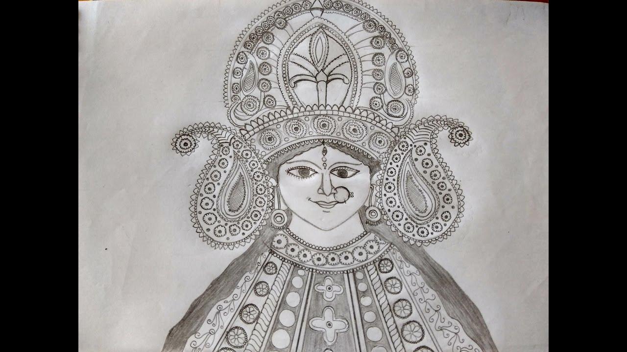 Durga maa drawing