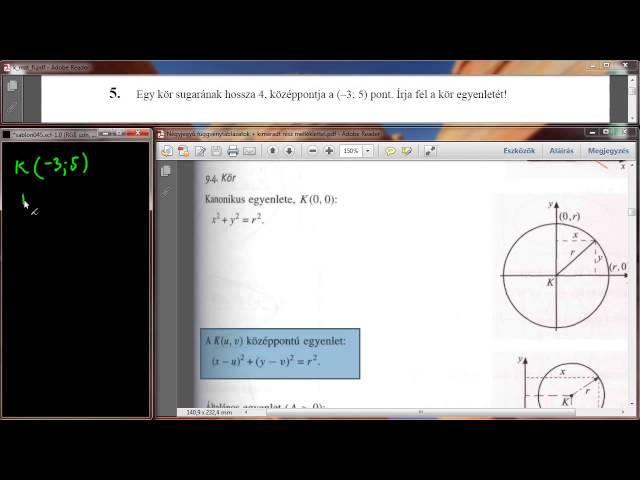 5. Feladat - Kör egyenlete