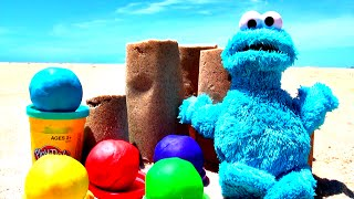 play doh beach surprise eggs cookie monster minnie mouse cars 2 toy story spongebob ocean fluffyjet