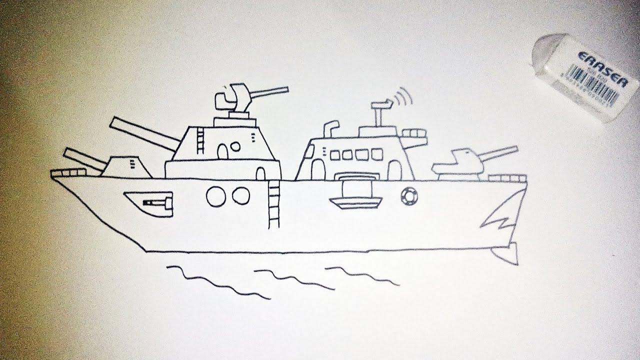 Cara Menggambar Kapal Perang Menggambar Dengan Meriam Anti