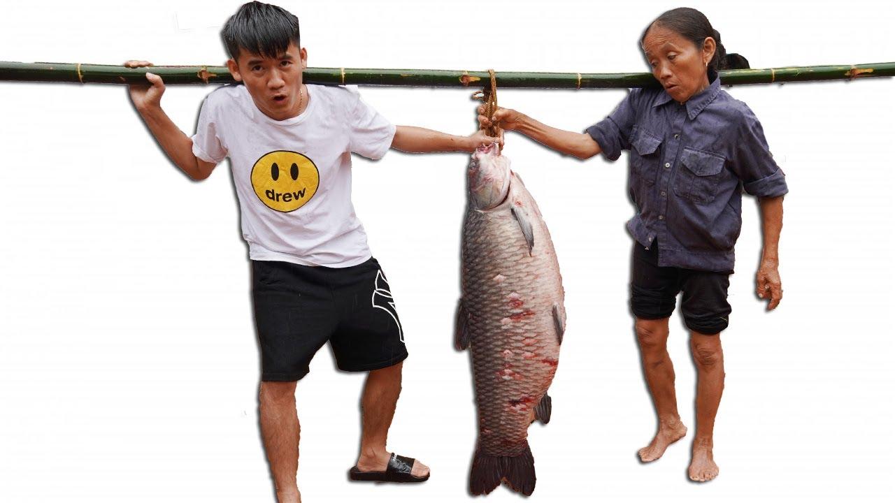 Hưng Vlog - Thử Thách Mẹ Bà Tân Vlog Ăn Cá Trắm Đen Khổng Lồ 18Kg Nướng Siêu Cay Và Cái Kết