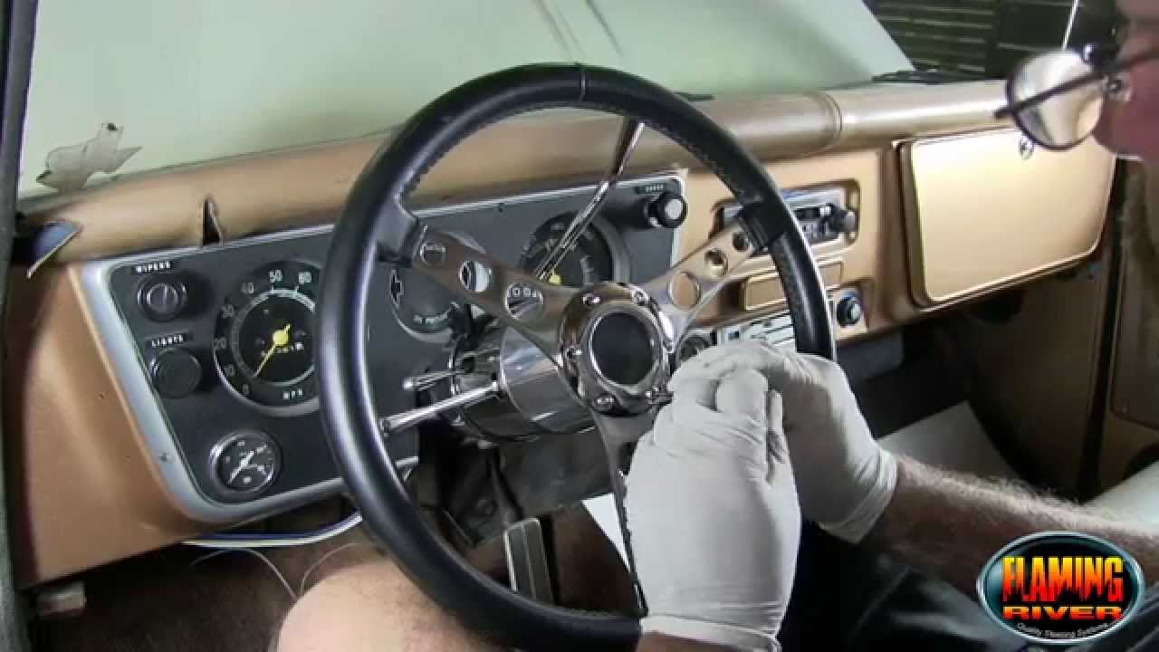 How To Install An Aftermarket Steering Wheel And Adapter On A 69 Mustang Turn Signal Wiring Diagram Flaming River Column Youtube