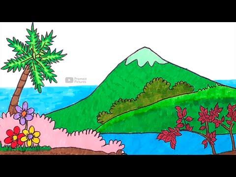 Gunung Laut Cara Menggambar Dan Mewarnai Gambar Pemandangan Untuk Anak Youtube