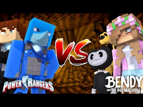 POWER RANGERS VERSUS BENDY AND THE INK MACHINE - Minecraft Sharky vs Scuba Steve