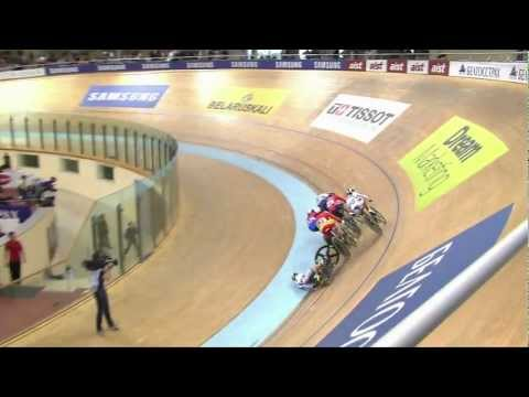 Woman's Keirin final, Vogel Crash - 2013 UCI World Track Championships