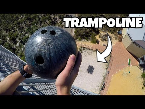 bowling-ball-vs.-trampoline-from-45m!