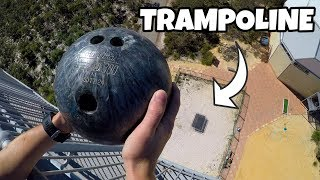 One of How Ridiculous's most viewed videos: BOWLING BALL Vs. TRAMPOLINE from 45m!