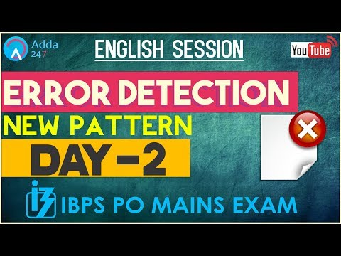 IBPS PO MAINS | Error Detection (New Pattern) | English (Day-2) |  Online Coaching for SBI IBPS