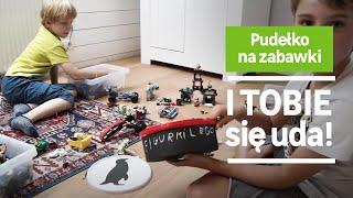 Pudełko na zabawki. Przedstawia Dom z pomysłem