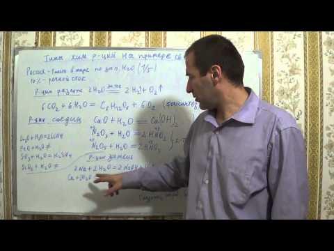 §33, 8кл. Типы химических реакций на примере свойств воды