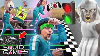 SQUID GAMES: BLIND Red Light Green Light vs. my WIFE! (FGTeeV Mobile Rip-off Challenge w\/ Granny)