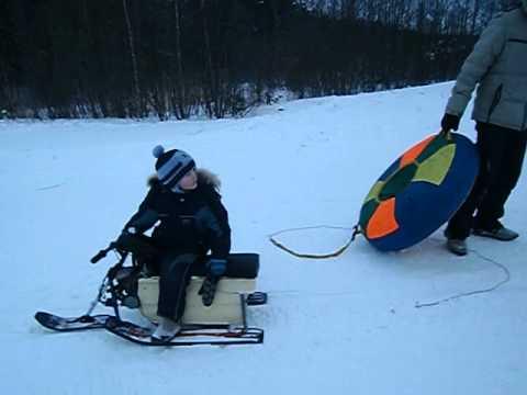 видео: детский снегоход, буран своими руками, прикол,
