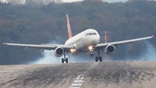 Crosswind Landings at Düsseldorf. Boeing 777, A330, A320, B737, MD82 (HD)