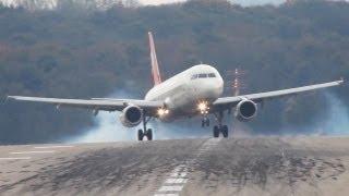 Crosswind Landings at Düsseldorf. Boeing 777, A330, A320, B737, MD82 (HD)