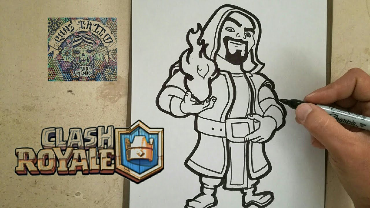 Clash Royale Personajes Para Colorear: COMO DIBUJAR AL MAGO DE FUEGO