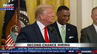 TRUMP THANKS KIM, KANYE: During second-chance hiring speech at the White House