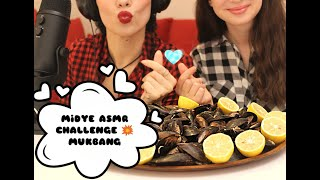 👩❤️💋👩 ANNE - KIZ MİDYE CHALLENGE!! MUKBANG / TÜRKÇE ASMR TADINDA ( Stuffed Mussels ASMR )
