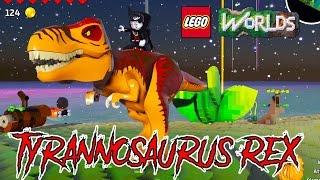 LEGO Worlds Tyrannosaurus Rex Unlock and Free Roam Gameplay