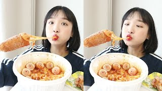 엽떡 핫도그 먹방 _ 엽기떡볶이와 명랑핫도그의 만남 :D