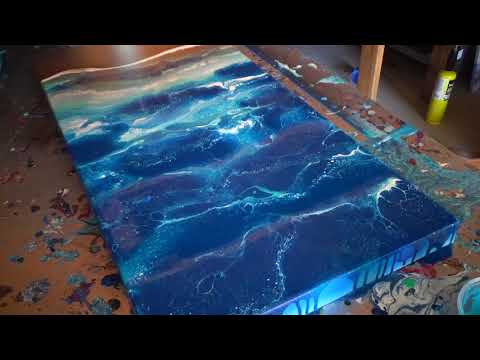 15X30″ Acrylic Beach Pour with Spray Paint