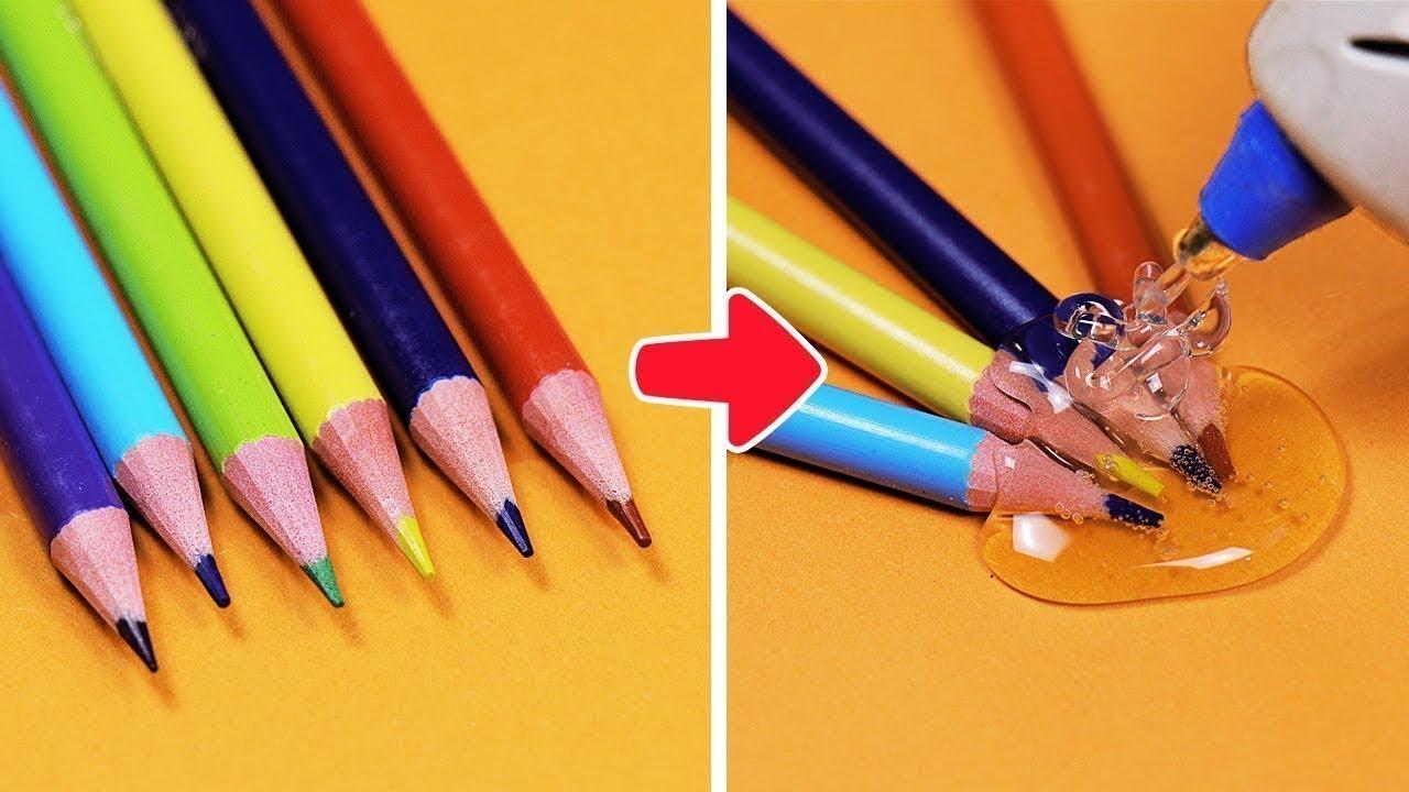 حيل مدرسية ممتعة وأفكار للمستلزمات المدرسية || حيل لأشغال مدرسية || حرف يدوية وأفكار مفيدة