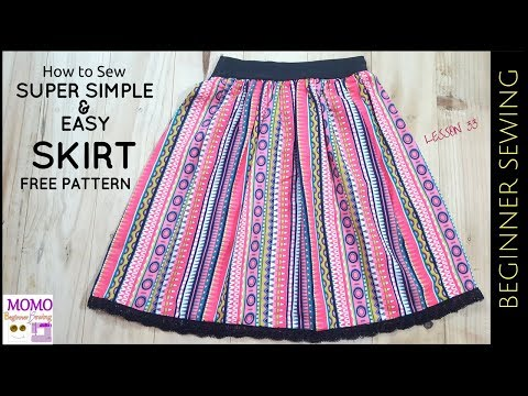 How to Sew: SUPER SIMPLE EASY SKIRT (Free Pattern) - Beginne