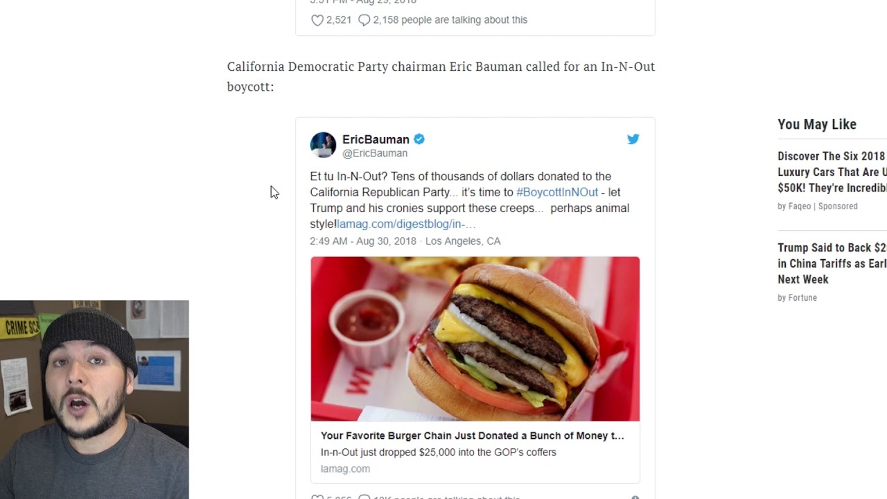 We CANT Eat In-N-Out Because They Donated to REPUBLICANS - YouTube