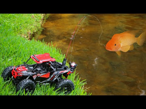 Toy Truck Catches MASSIVE COLORFUL FISH For **JAWS FOOD**