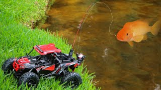 toy-truck-catches-massive-colorful-fish-for-jaws-food