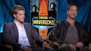 Jonny Weston & Gerard Butler - Chasing Mavericks Interview with Tribute