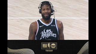 Paul George Talks with Shaq, D-Wade & Candace Parker After LA's Dominate Win | NBA on TNT Tuesday