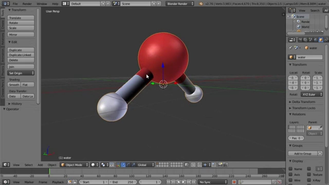 Blender Water Molecule Tutorial Using Open Babel to Convert Formats and  ChemSpider as Source