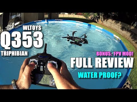 WLTOYS Q353 Triphibian Waterproof Drone - Full Review - [UnBox, Inspection, Flight/Water/FPV Test]