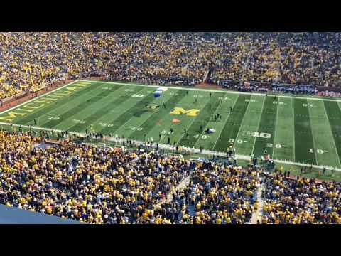 Parachuting into Michigan Stadium