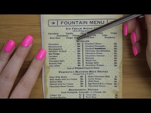 ASMR: Whisper reading Vintage menus
