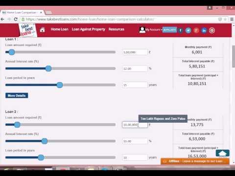 Home Loan Comparison calculator