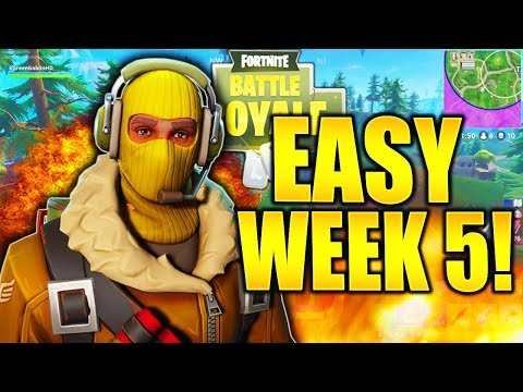 HOW TO DO ALL WEEK 5 CHALLENGES EASY IN FORTNITE! PICKAXE DAMAGE, BUSH, GAS STATIONS, TREASURE MAP!