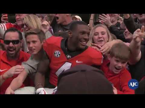 UGA celebrates win over Georgia Tech at Bobby Dodd Stadium