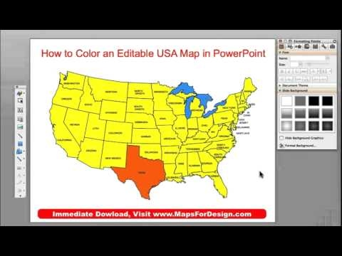 How to Color a State, County or Country Map in a PowerPoint Slide - editable united states maps