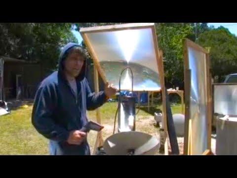 Fresnel Lens and parabolic mirror DESALINATION SEA SALT WATER WORT BOIL PART 1