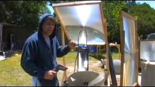 Fresnel Lens and parabolic mirror DESALINATION SEA SALT WATER WORT BOIL SOLAR STILL