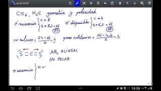 Geometría molecular del sulfuro de carbono y del sulfuro de hidrógeno