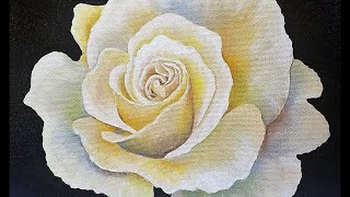 50K Subscriber GIVEAWAY White Rose Step by Step Acrylic Painting Tutorial LIVE