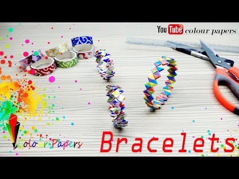 How to make a DIY Paper Wristband   Friendship Band Bracelet - Paper Crafts - colourpapers