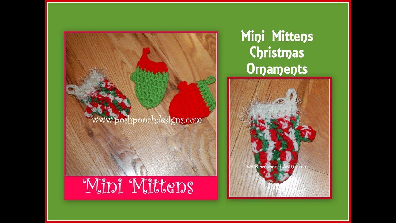 Mitten Christmas Decorations - Mini mitten christmas ornament crochet pattern