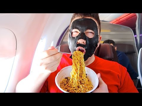 Flying First Class • What I Ate On Hawaiian Airlines • MUKBANG