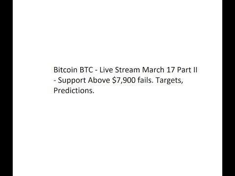 Bitcoin BTC - Live Stream March 17 Part II - Support Above $7,900 fails. Targets, Predictions.