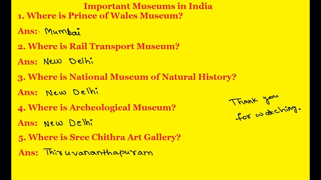 RRB EXAM DETAILS   General Knowledge   Important Museums ...