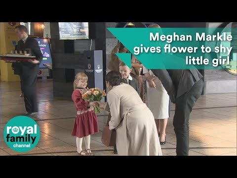 Meghan Markle gives flower to shy little girl at Titanic Belfast
