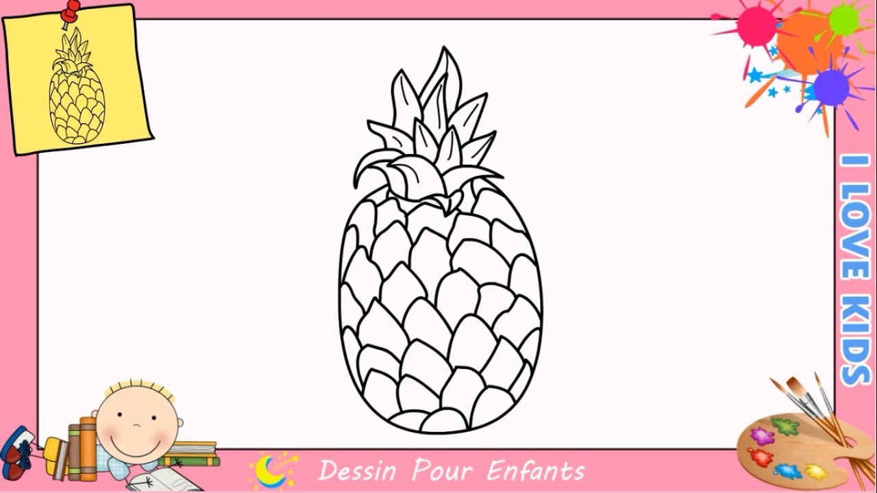 comment dessiner un ananas facilement etape par etape pour. Black Bedroom Furniture Sets. Home Design Ideas